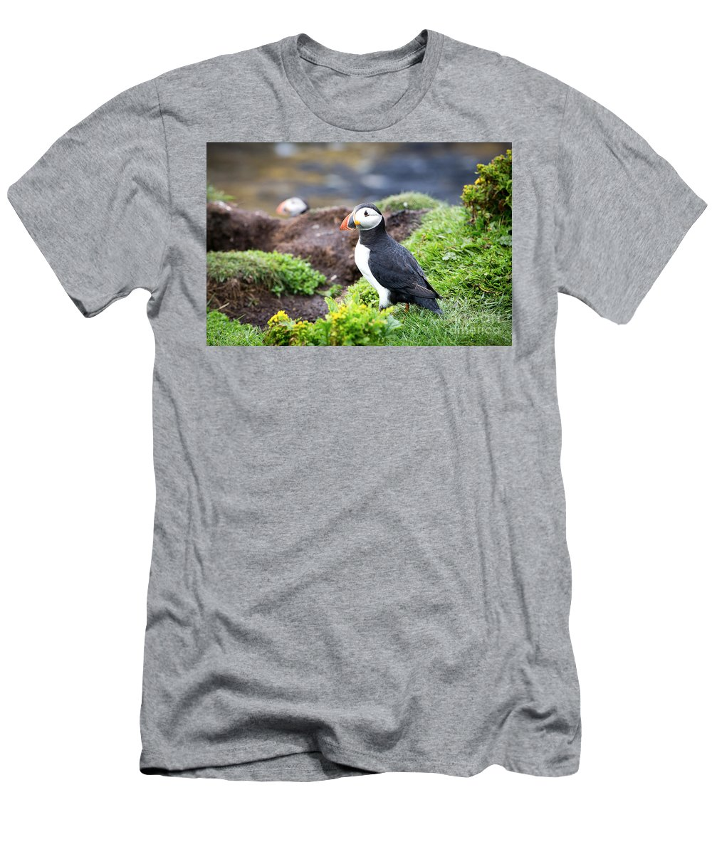 Puffin Men's T-Shirt (Athletic Fit) featuring the photograph Puffin by Jane Rix