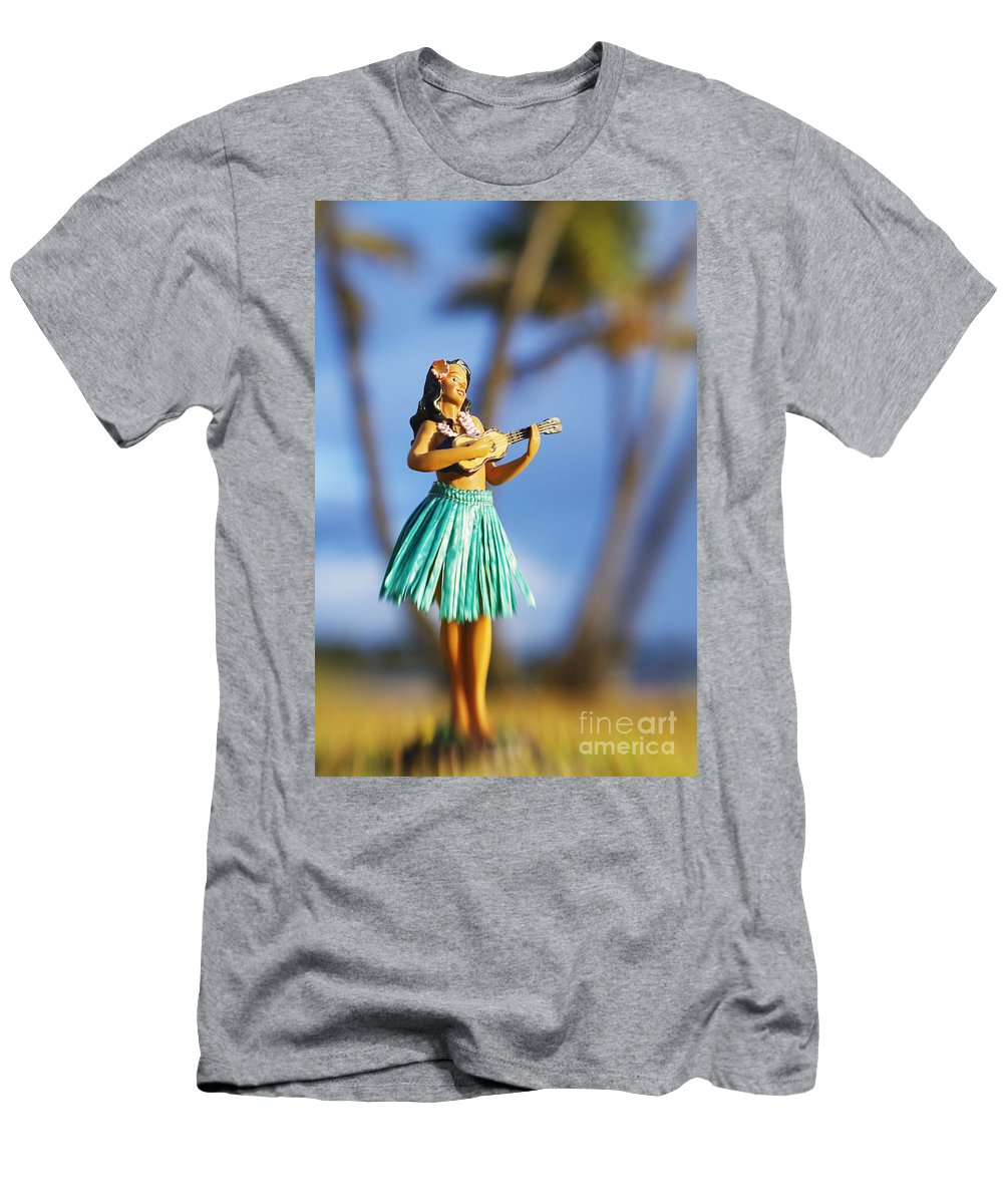 Beach Men's T-Shirt (Athletic Fit) featuring the photograph Punaluu, Hula Doll by Greg Vaughn - Printscapes