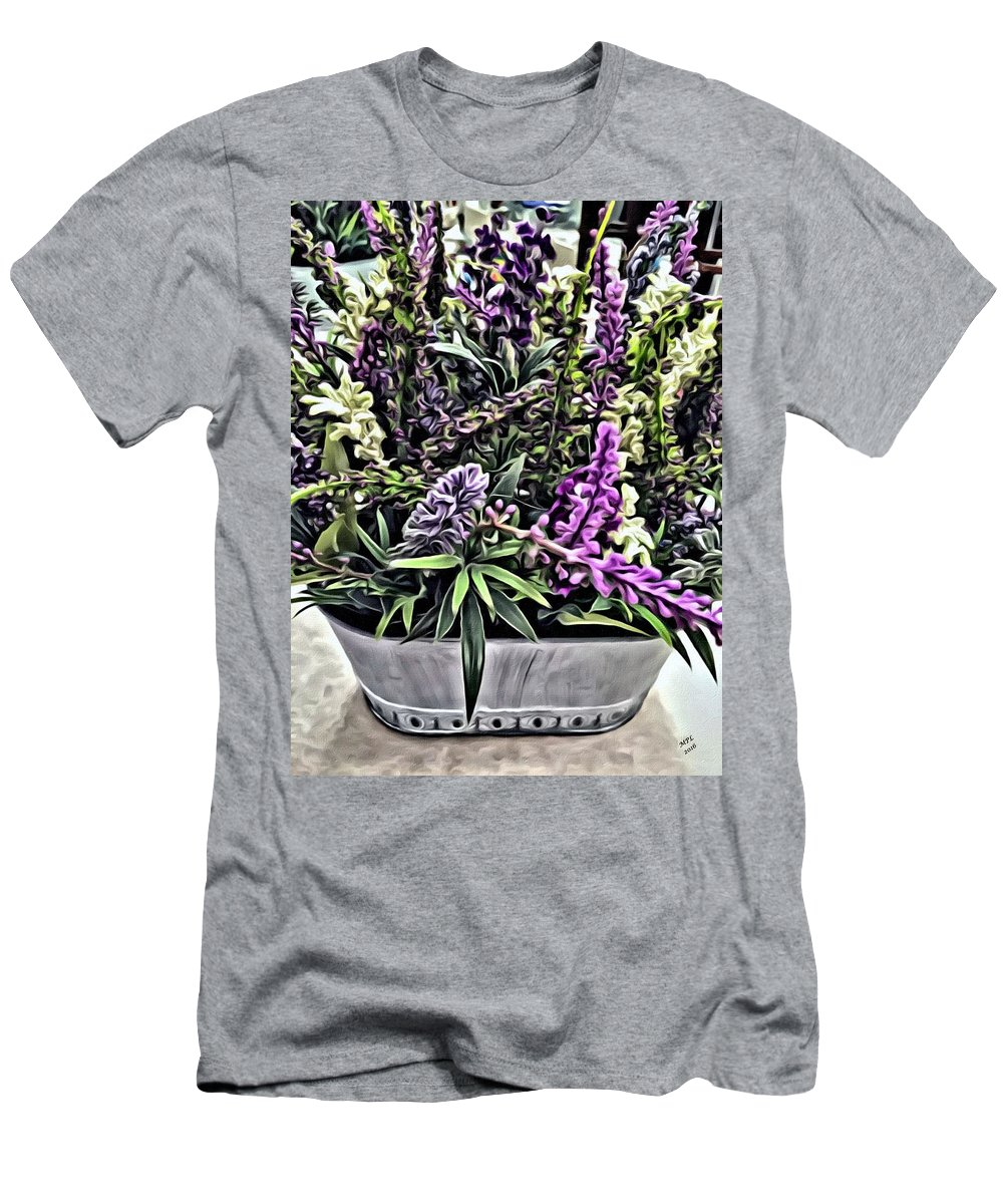 Purple Flowers Men's T-Shirt (Athletic Fit) featuring the painting Purple Flowers In Bloom by Marian Palucci-Lonzetta