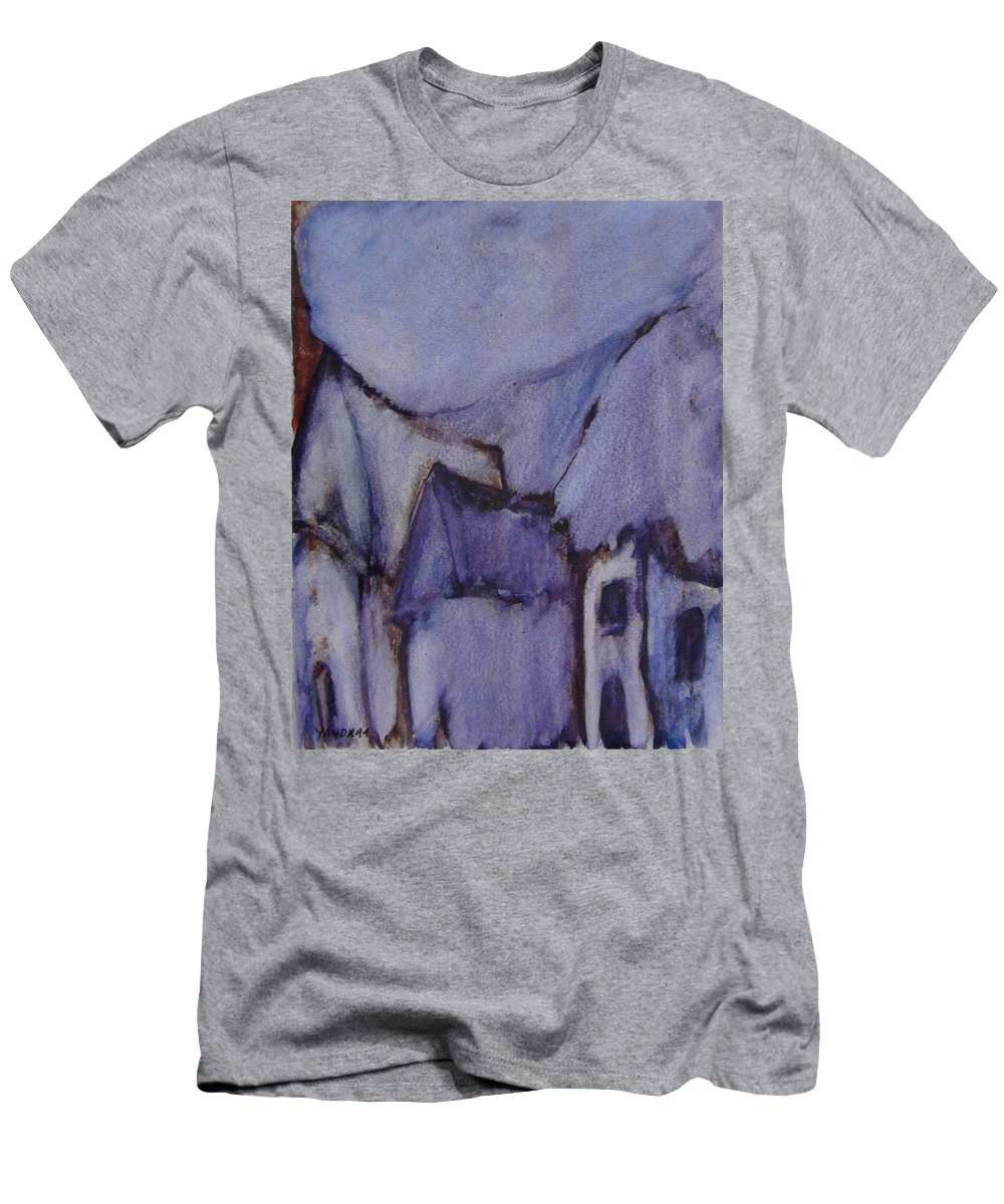 Katt Yanda Original Art Watercolor Purple Hut Village Men's T-Shirt (Athletic Fit) featuring the drawing Purple Hut by Katt Yanda