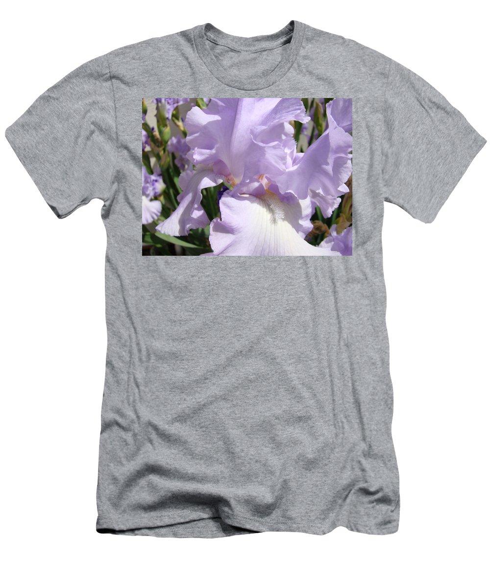 �irises Artwork� Men's T-Shirt (Athletic Fit) featuring the photograph Purple Irises Artwork Lavender Iris Flowers 13 Botanical Floral Art Baslee Troutman by Baslee Troutman