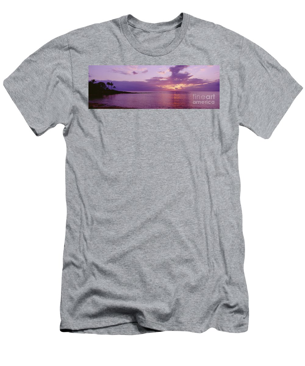 Amaze Men's T-Shirt (Athletic Fit) featuring the photograph Purple Sunset At Kapalua Beach by John Hyde - Printscapes