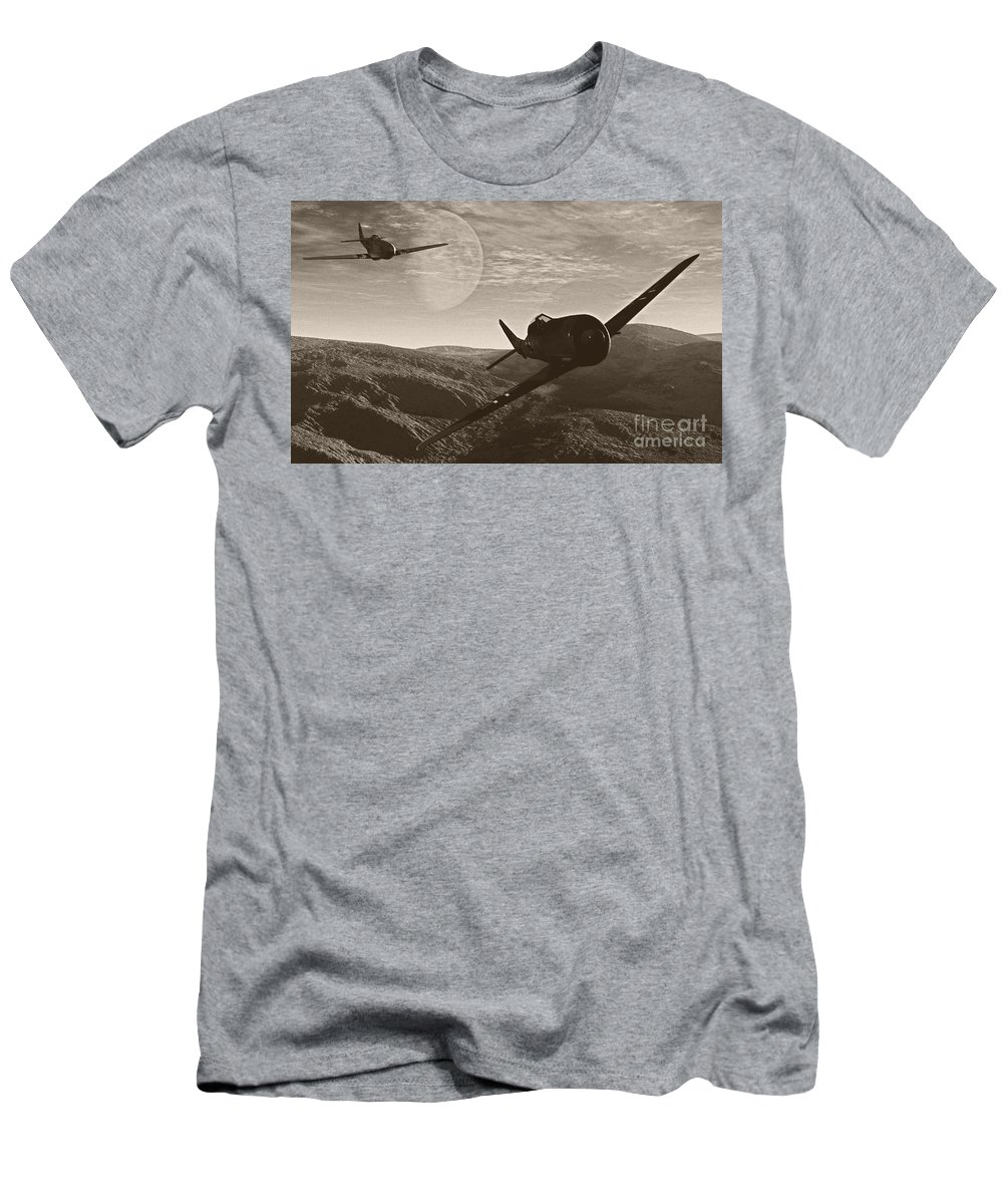 Dogfight Men's T-Shirt (Athletic Fit) featuring the digital art Pursuit Of The Fox by Richard Rizzo