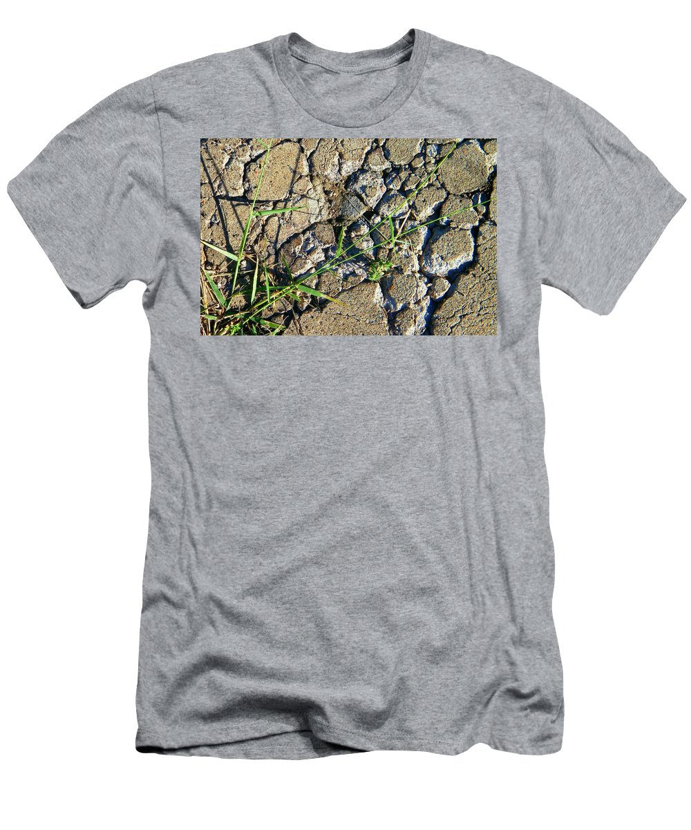 Abstract Men's T-Shirt (Athletic Fit) featuring the photograph Pushing Through Concrete by Lenore Senior