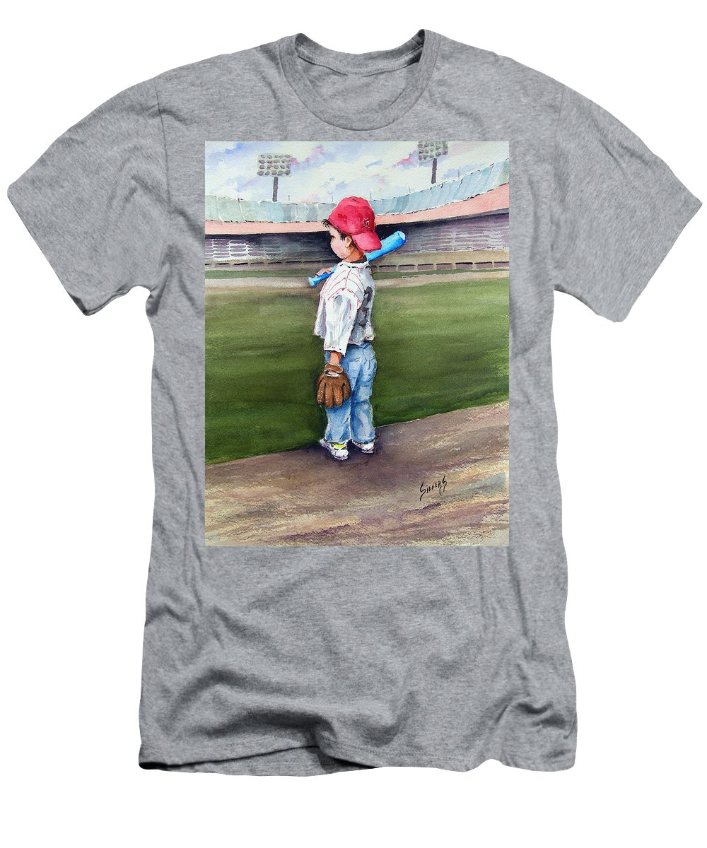 Baseball Men's T-Shirt (Athletic Fit) featuring the painting Put Me In Coach by Sam Sidders