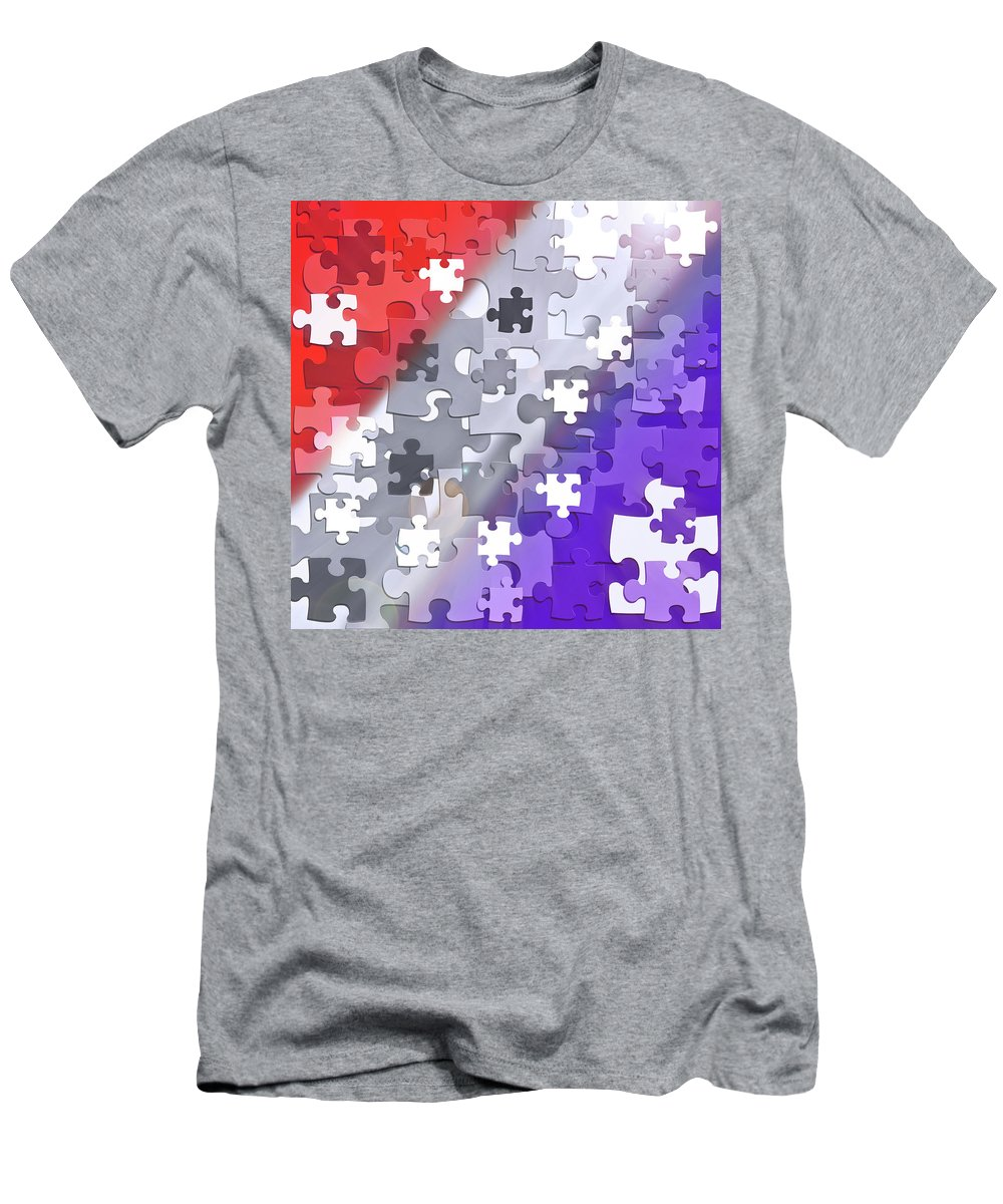 Red White And Blue Men's T-Shirt (Athletic Fit) featuring the digital art Puzzled - Conceptual Abstract by Steve Ohlsen