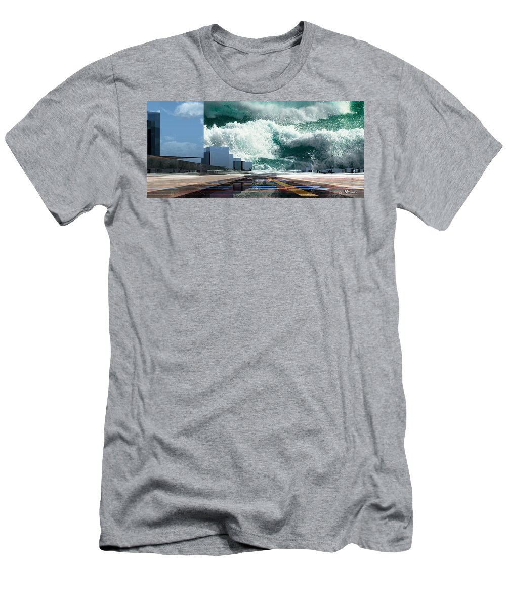 Abstractly Men's T-Shirt (Athletic Fit) featuring the digital art Q-city Seven by Max Steinwald