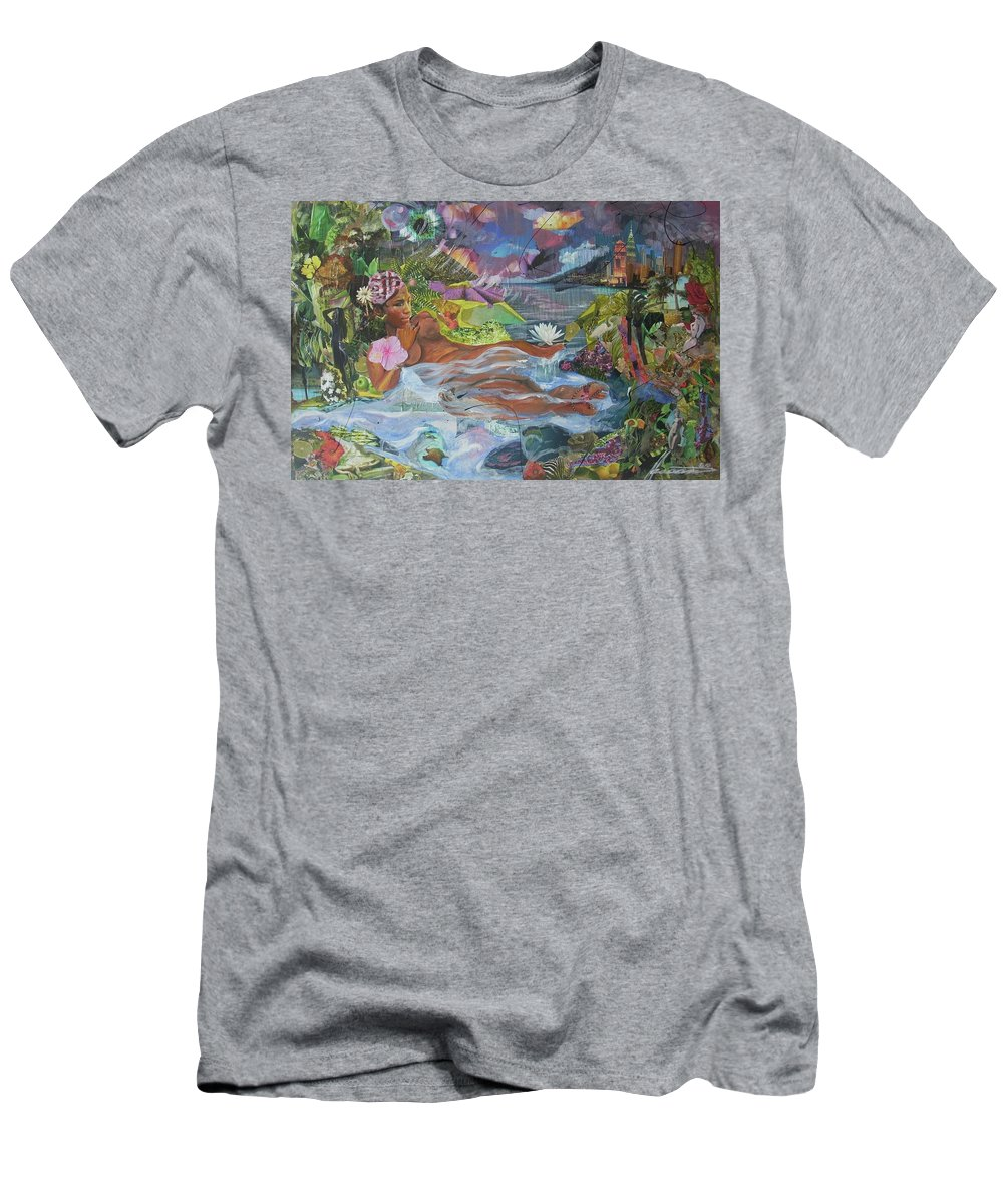 Queen Men's T-Shirt (Athletic Fit) featuring the painting Queen City Dreaming by Hasaan Kirkland
