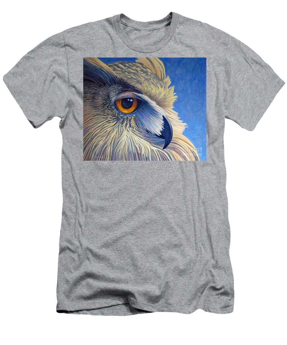Owl Men's T-Shirt (Athletic Fit) featuring the painting Quiet Joy by Brian Commerford