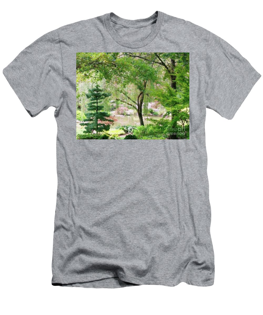 Landscape Men's T-Shirt (Athletic Fit) featuring the mixed media Quiet Time by Sharon Eng