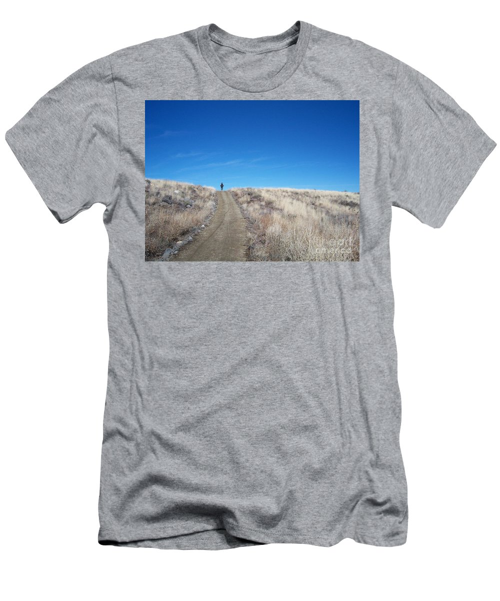 Racing Bike Men's T-Shirt (Athletic Fit) featuring the photograph Racing Over The Horizon by Heather Kirk