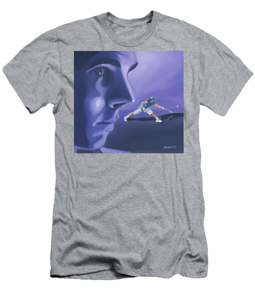 Raphael Men's T-Shirt (Athletic Fit) featuring the painting Rafael Nadal by Quwatha Valentine