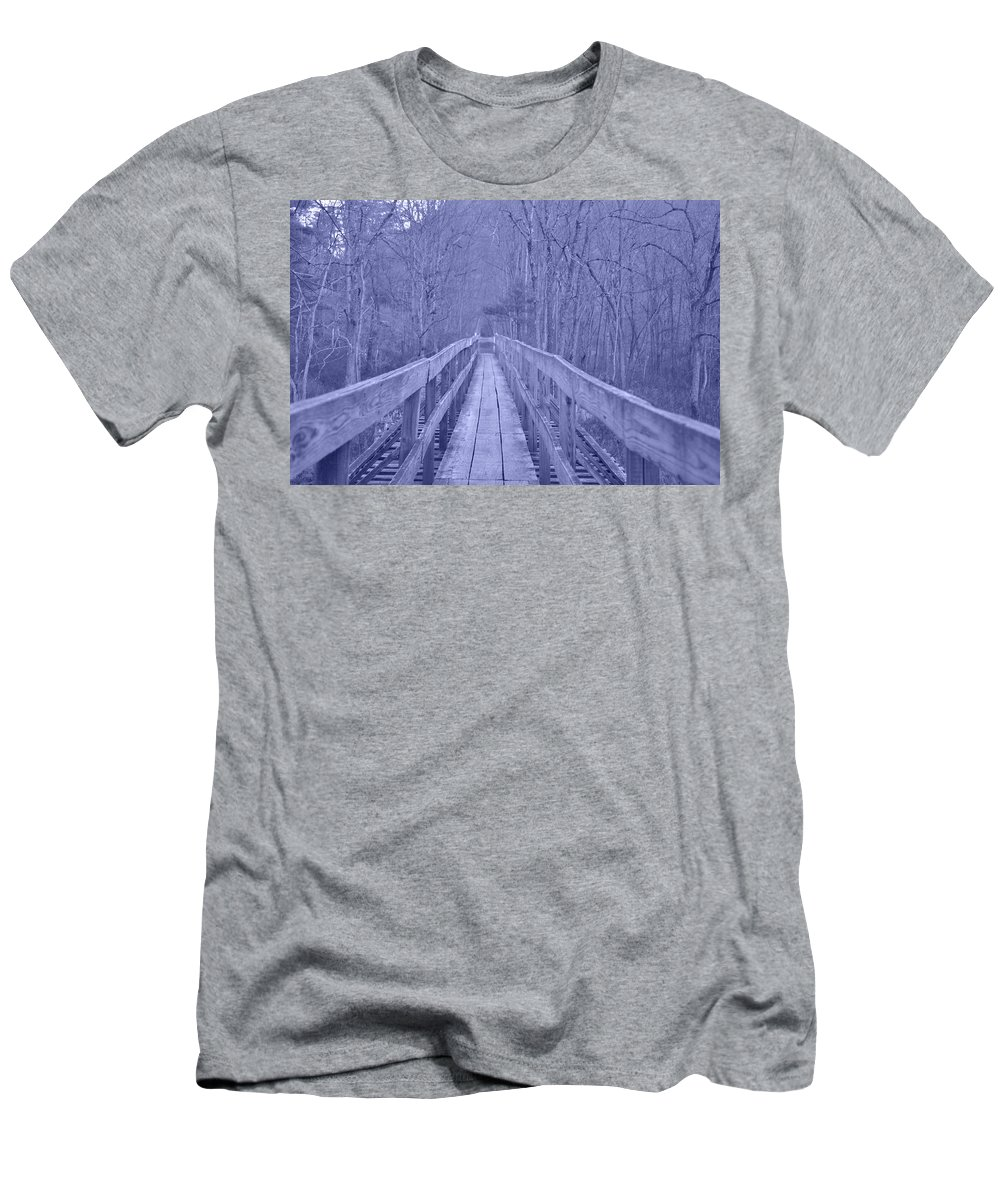 Coburn Men's T-Shirt (Athletic Fit) featuring the photograph Railroad Bridge by Trish Tritz
