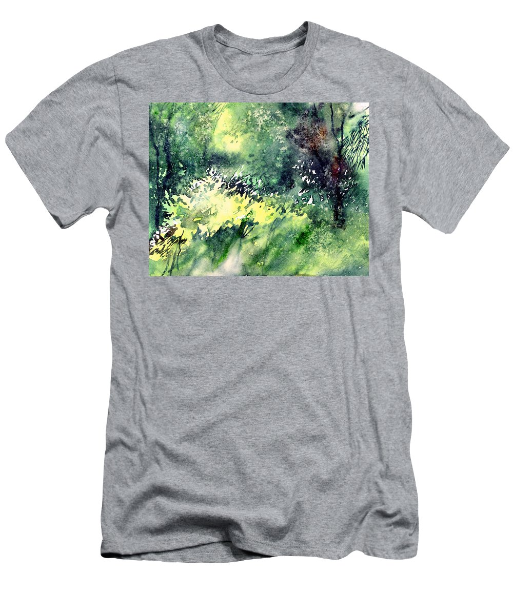 Landscape Watercolor Nature Greenery Rain Men's T-Shirt (Athletic Fit) featuring the painting Rain Gloss by Anil Nene