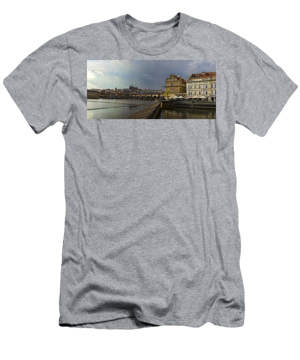 Prague Men's T-Shirt (Athletic Fit) featuring the photograph Rain Over Prague by Heather Applegate