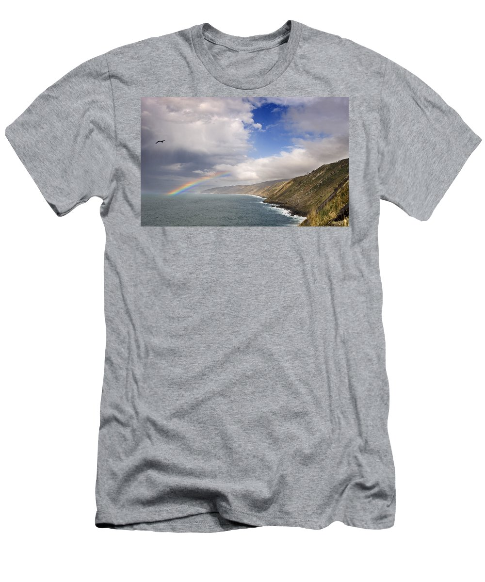 Spain Men's T-Shirt (Athletic Fit) featuring the photograph Rainbow From The Sea by Rafa Rivas