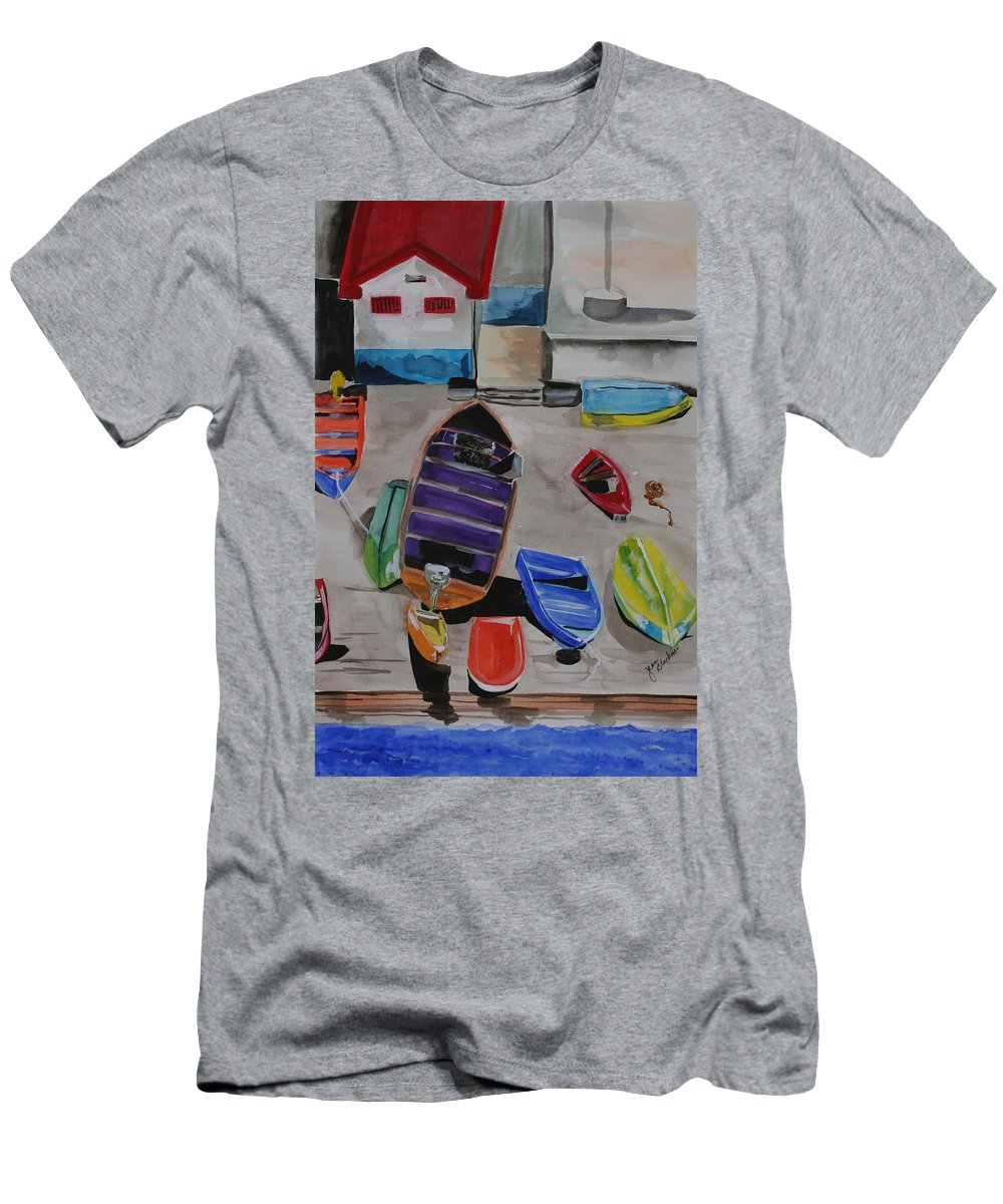 Boats Men's T-Shirt (Athletic Fit) featuring the painting Rainbow On The Dock by Jean Blackmer