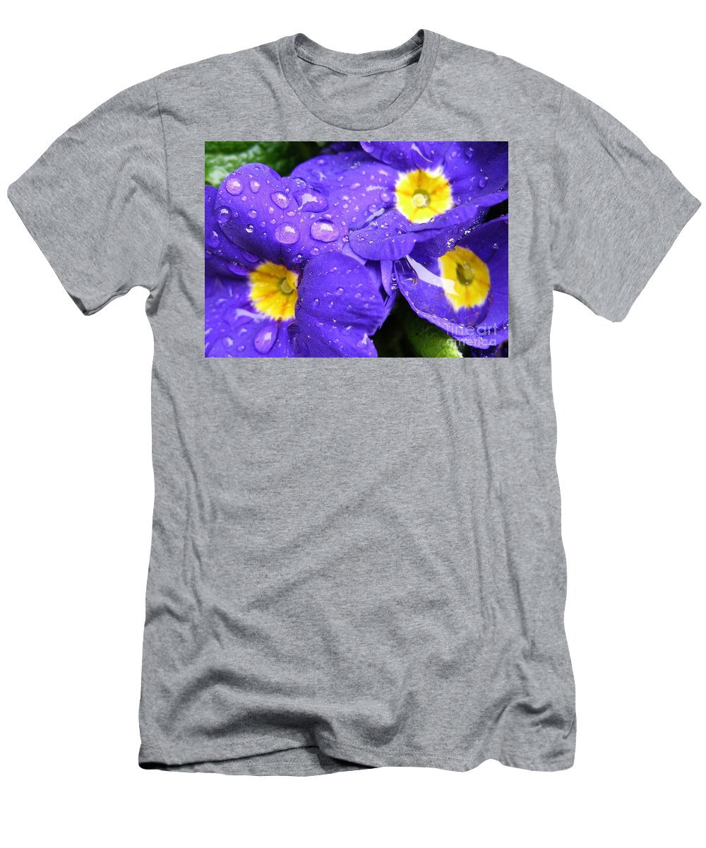 Blue Men's T-Shirt (Athletic Fit) featuring the photograph Raindrops On Blue Flowers by Carol Groenen