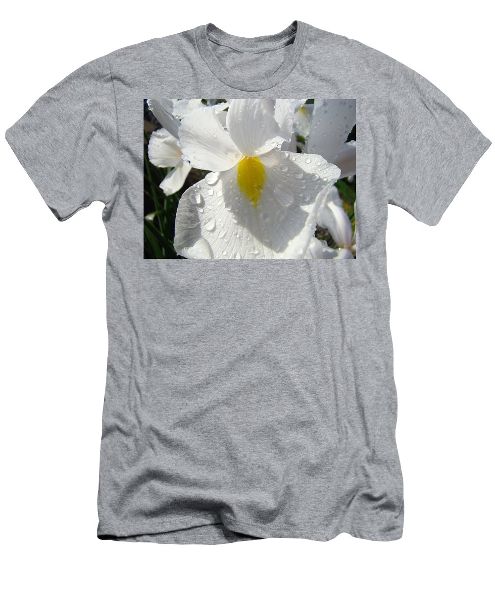Iris Men's T-Shirt (Athletic Fit) featuring the photograph Raindrops On White Irises Flowers Sunlit Baslee Troutman by Baslee Troutman