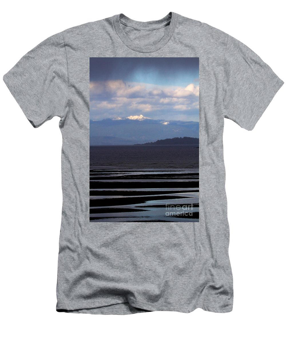 Landscape Men's T-Shirt (Athletic Fit) featuring the photograph Rathtrevor Beach On Vancouver Island In British Columbia by Louise Heusinkveld