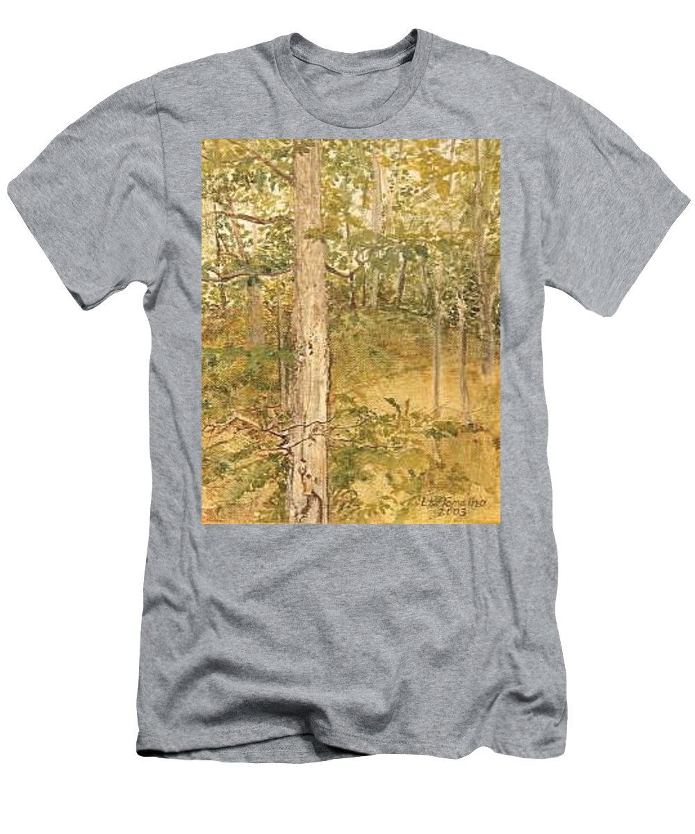 Trees Men's T-Shirt (Slim Fit) featuring the painting Raystown Lake by Leah Tomaino