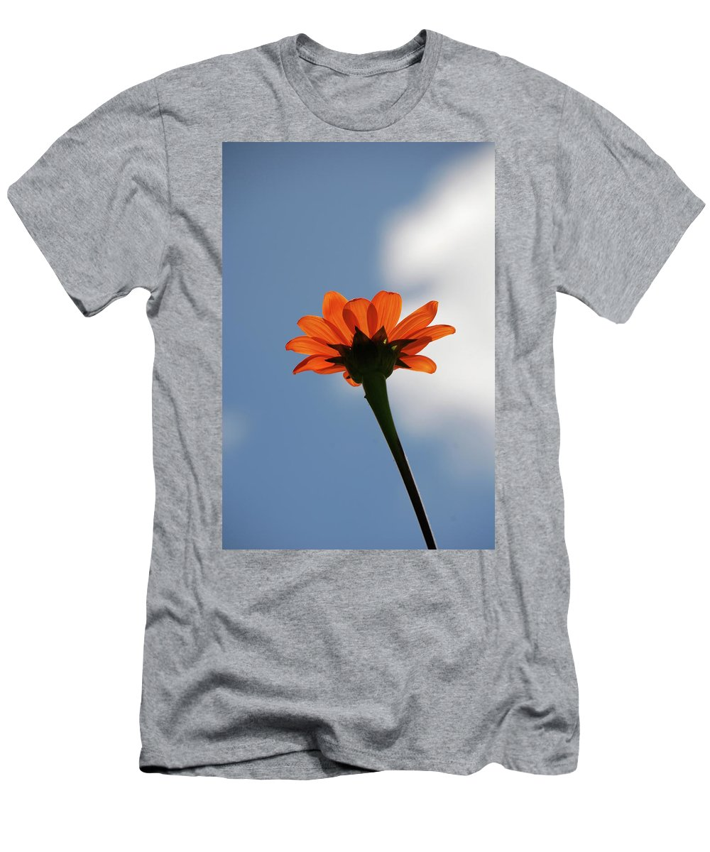 Orange Flower Men's T-Shirt (Athletic Fit) featuring the photograph Reach For The Sky by Debbie Karnes