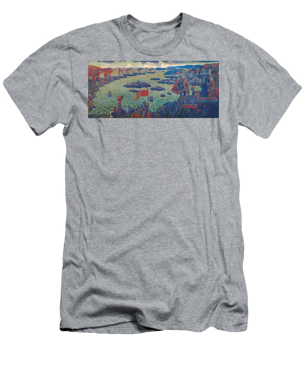 Battle Men's T-Shirt (Athletic Fit) featuring the painting Ready For The Campaign, The Varangian Sea by Nicholas Roerich