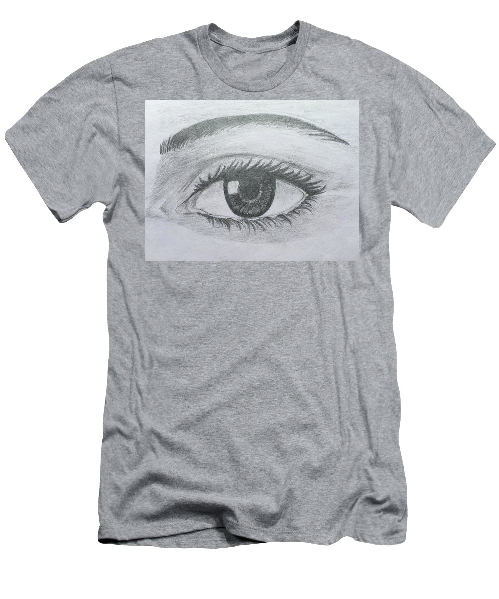 Realistic Eye Men's T-Shirt (Athletic Fit) featuring the drawing Realistic Eye by Gagandeep Kaur