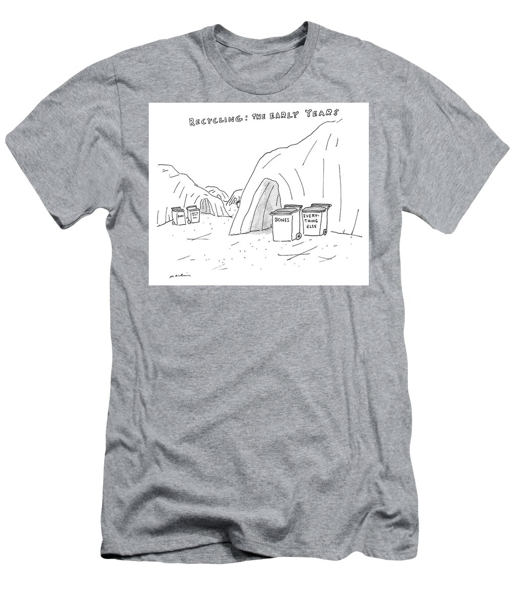 Recycling: The Early Years Men's T-Shirt (Athletic Fit) featuring the drawing Recycling The Early Years by Michael Maslin