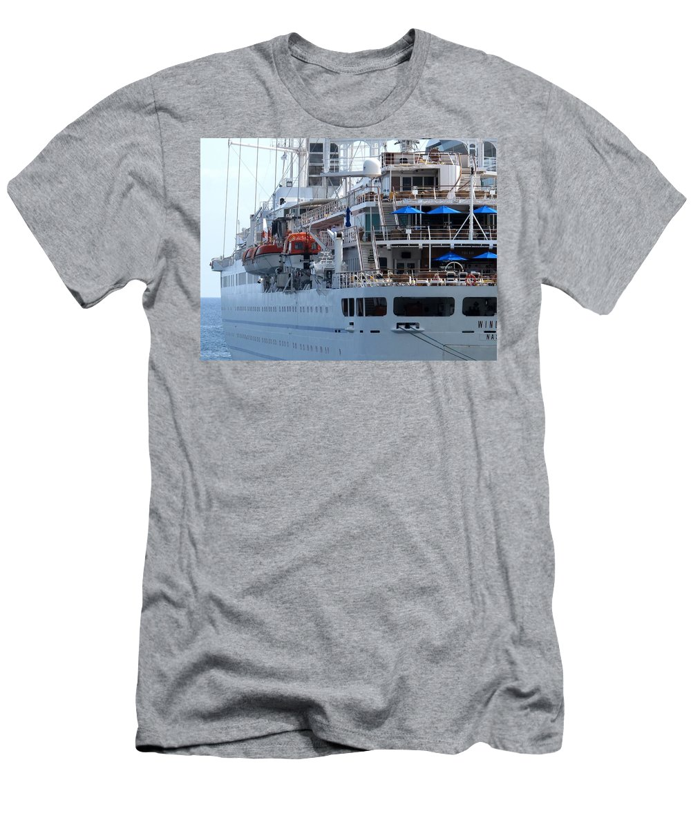 Ship Men's T-Shirt (Athletic Fit) featuring the photograph Red And Blue by Ian MacDonald