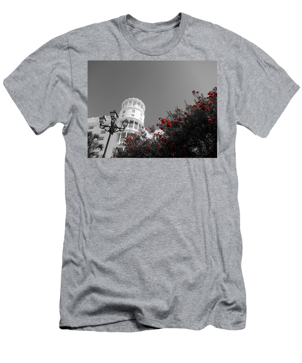 Red Flowers Men's T-Shirt (Athletic Fit) featuring the photograph Red And White Contrast by Douglas Barnard