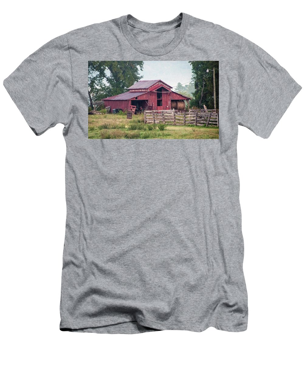 Red Men's T-Shirt (Athletic Fit) featuring the photograph Red Barn by George Elliott