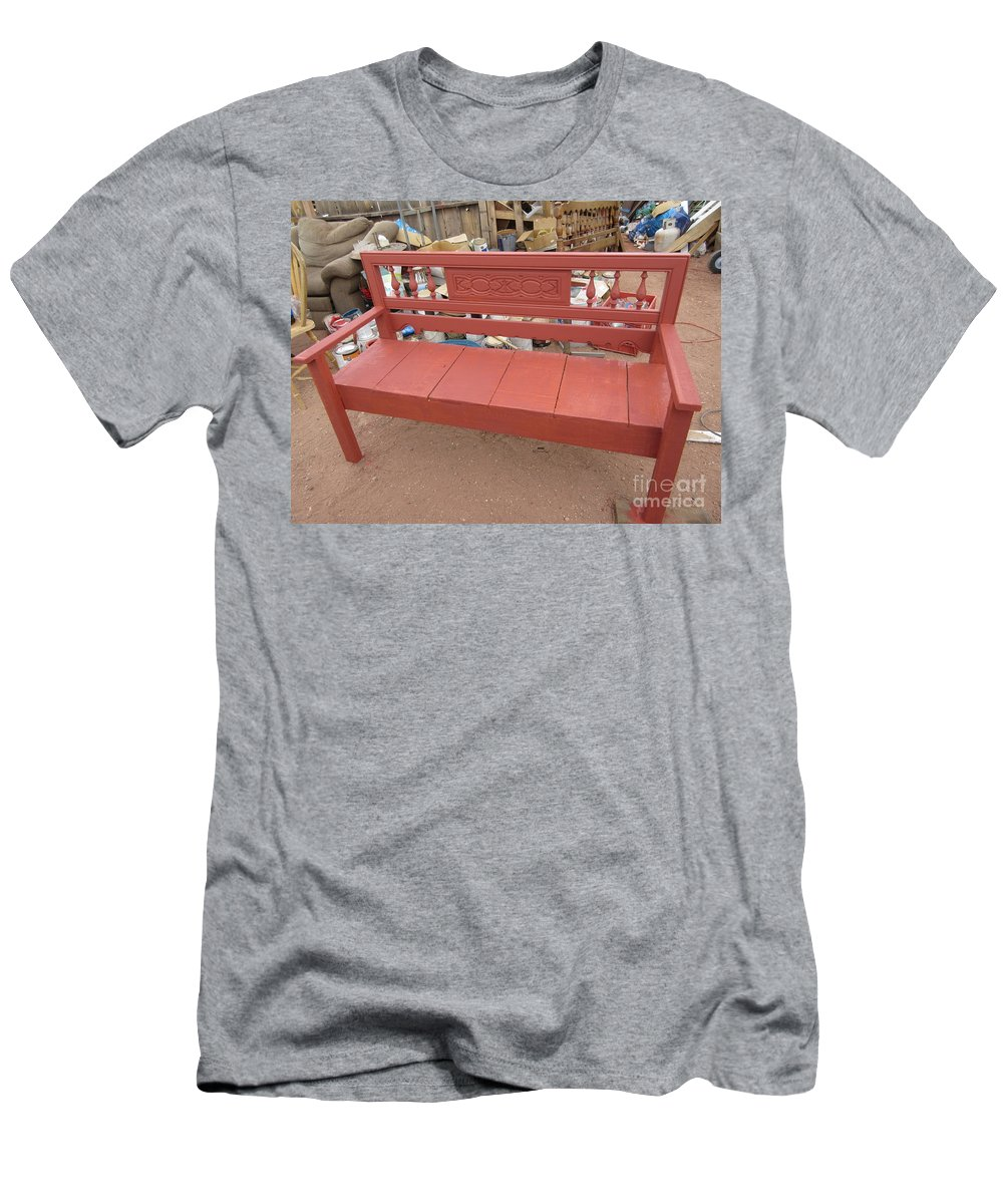 Red Men's T-Shirt (Athletic Fit) featuring the photograph Red Bench by Frederick Holiday