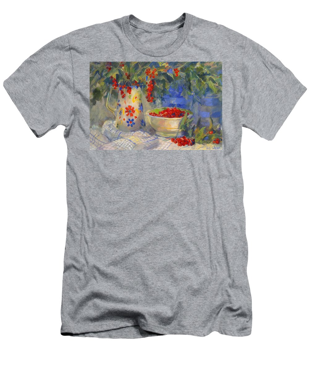 Red Men's T-Shirt (Athletic Fit) featuring the painting Red Currants by Sue Wales