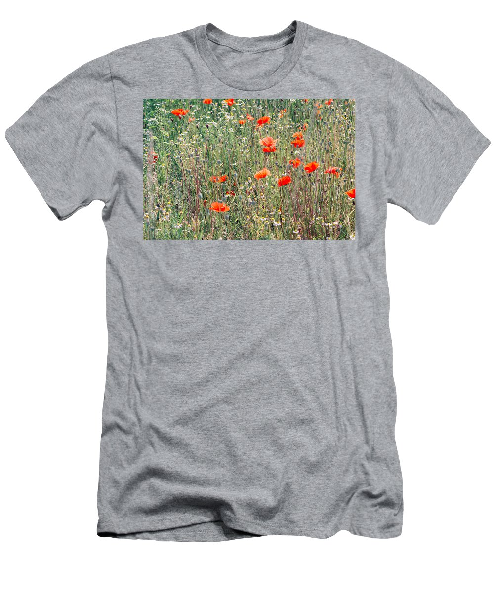 Nature Men's T-Shirt (Athletic Fit) featuring the photograph Red Poppies In A Summer Sun by Pati Photography