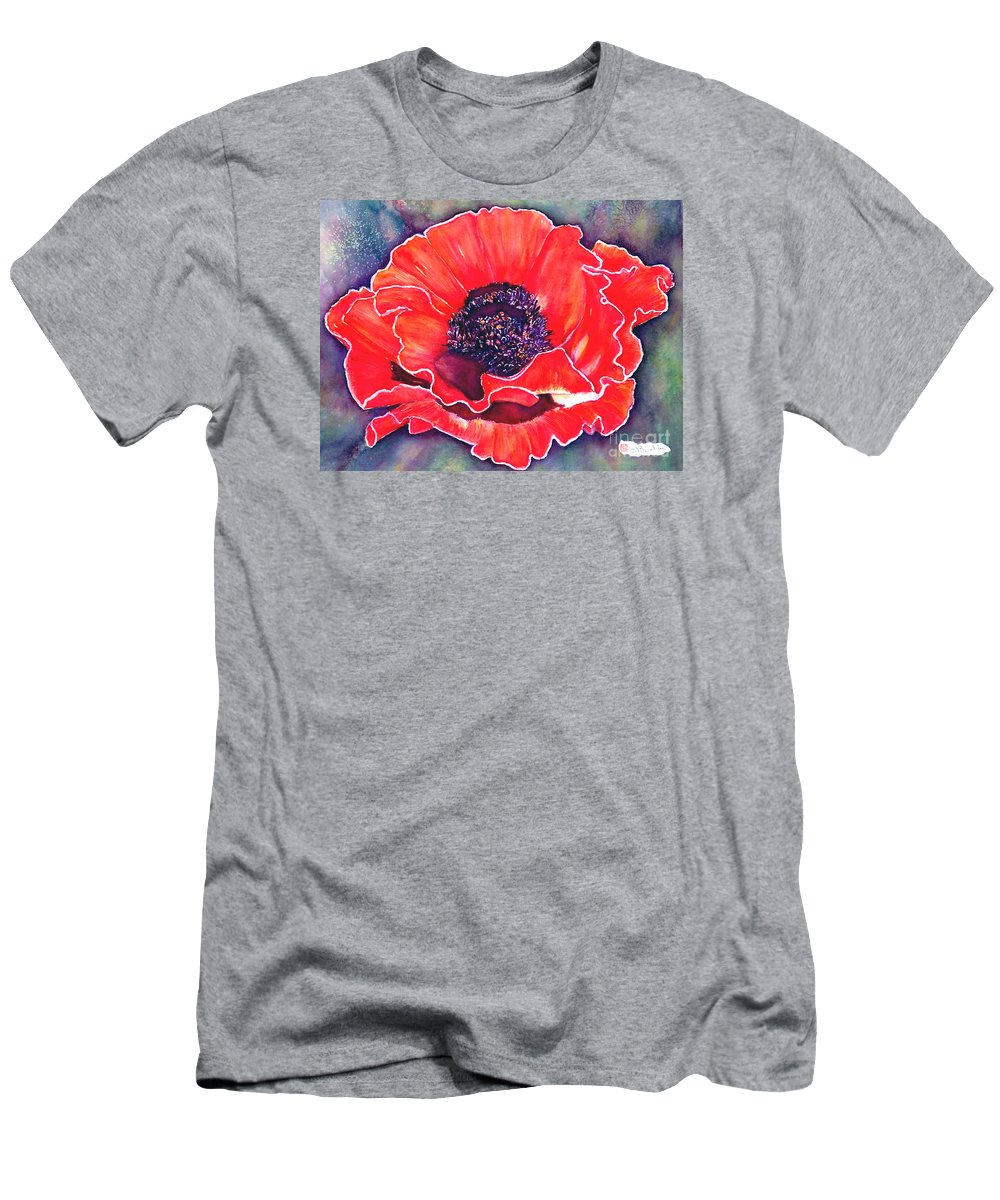 Red Flowers Men's T-Shirt (Athletic Fit) featuring the painting Red Poppy by Norma Boeckler