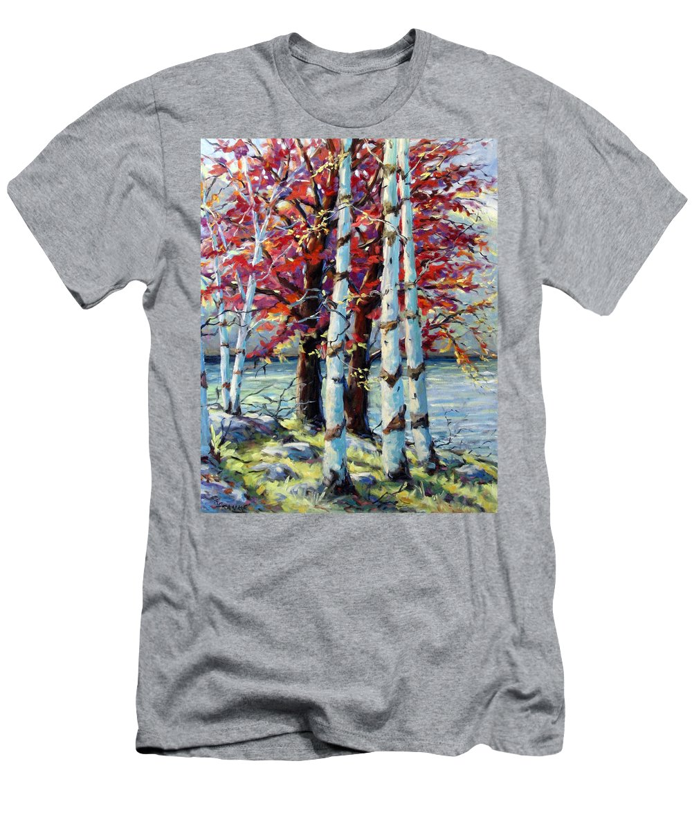 Birches Men's T-Shirt (Athletic Fit) featuring the painting Red Splash by Richard T Pranke