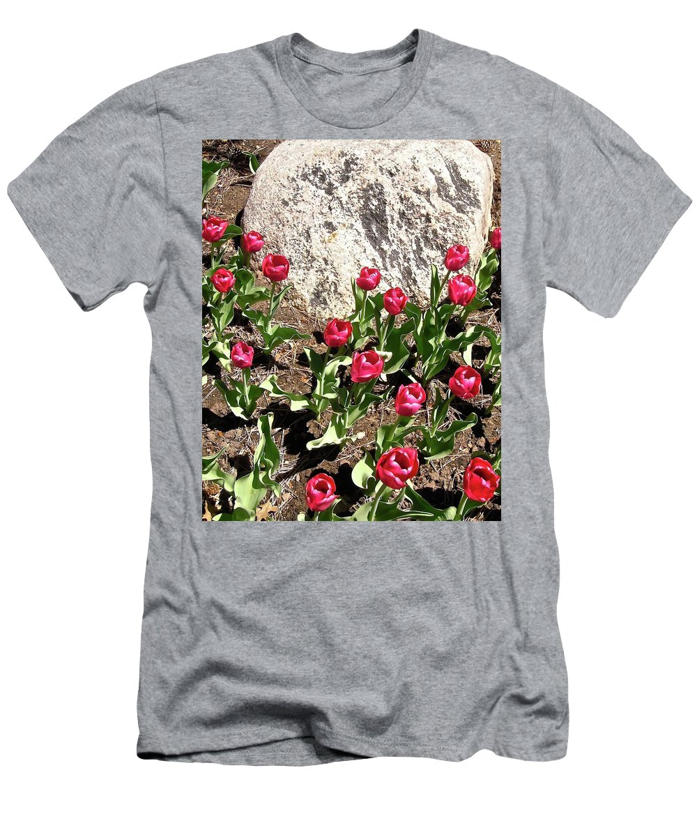 Tulips Men's T-Shirt (Athletic Fit) featuring the photograph Red Tulips by Stephanie Moore