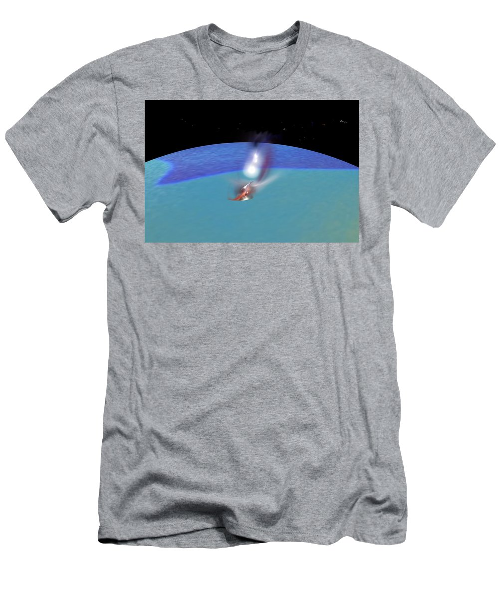 Abstract Digital Painting Men's T-Shirt (Athletic Fit) featuring the digital art Reentry by David Lane