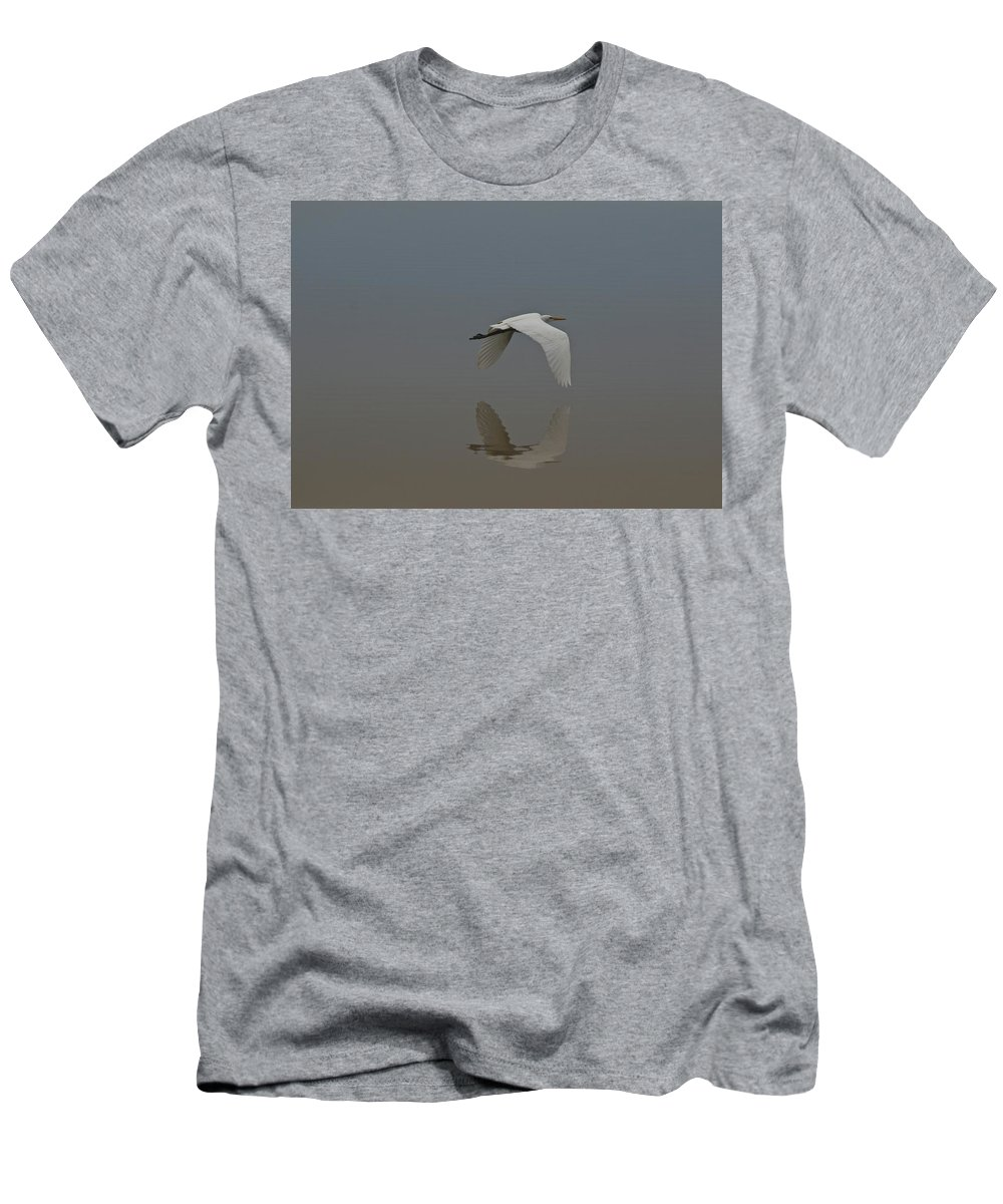 Egret Men's T-Shirt (Athletic Fit) featuring the photograph Reflection by Beverly Cummiskey