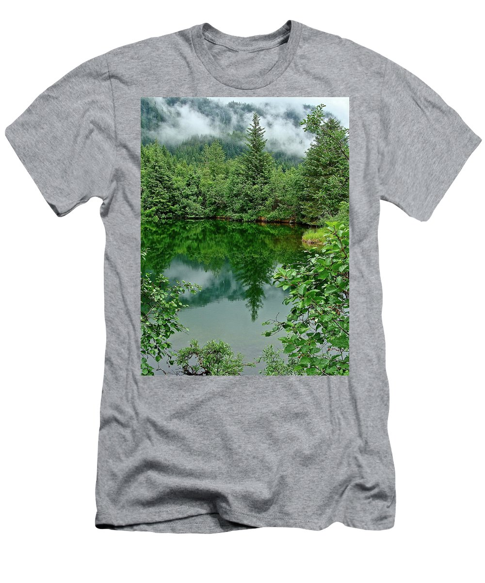 Trees Men's T-Shirt (Athletic Fit) featuring the photograph Reflection by Diana Hatcher