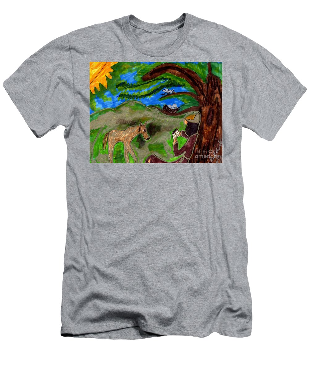 Monk Reading With A Deer And Birds Watching Men's T-Shirt (Athletic Fit) featuring the mixed media Reflections And Prayer Of St. Francis by Elinor Helen Rakowski