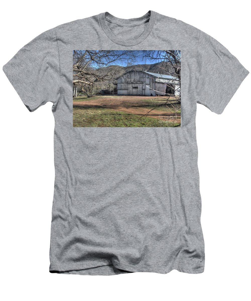 Building Structure Barn Old Aged Decaying Ranch Nature Foothills Beauty Landscape Outdoors Trees Grass Bushes Color White Green Blue Sky Hdr Giesla Northern Arizoma Payson Men's T-Shirt (Athletic Fit) featuring the photograph Resting In Peace by Thomas Todd