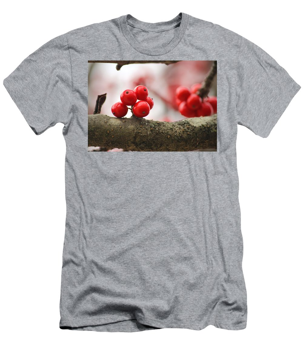 Nature Men's T-Shirt (Athletic Fit) featuring the photograph Resting Winter Berries by Aaliyah Muhammad