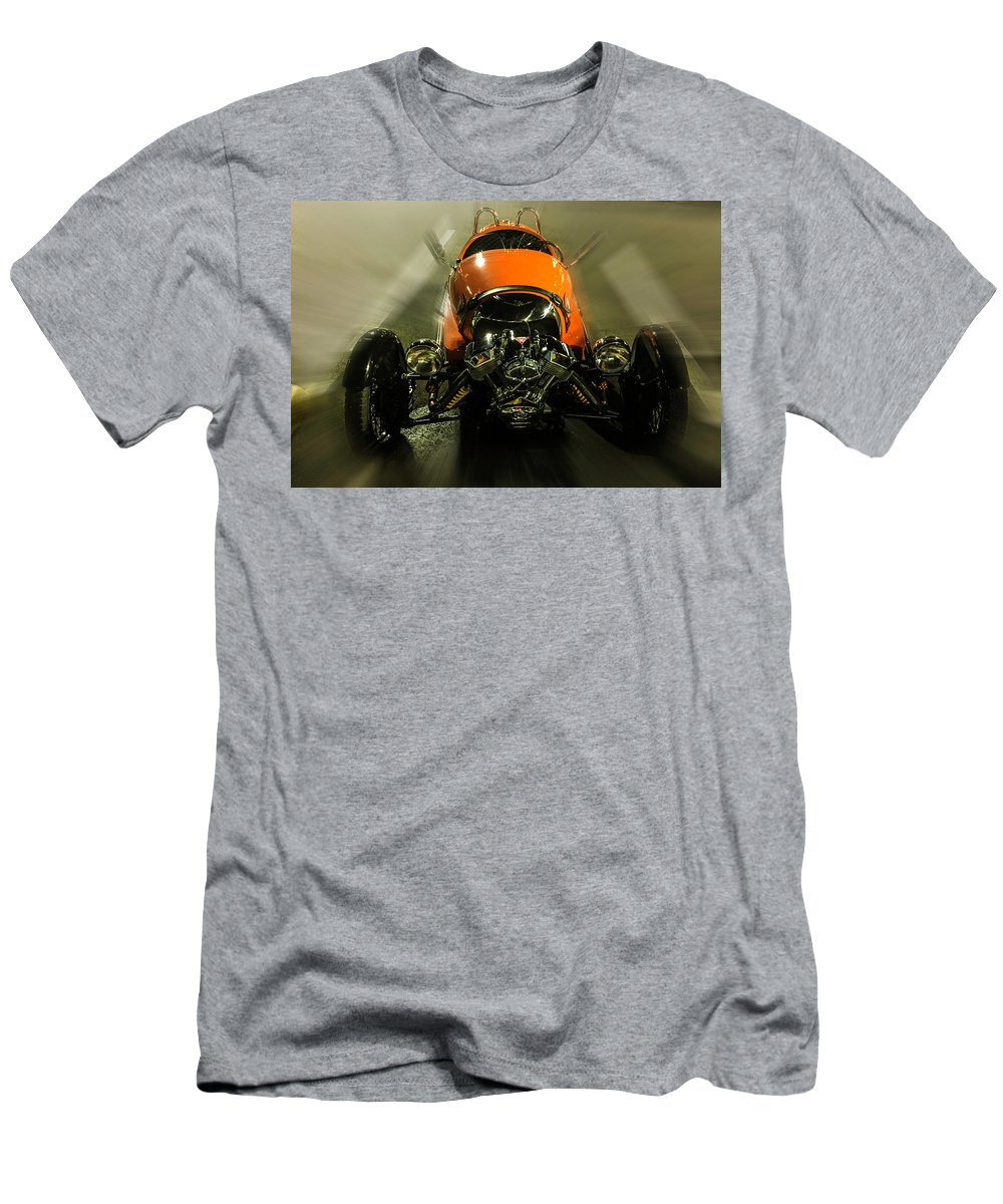 Retro Car Men's T-Shirt (Athletic Fit) featuring the photograph Retro Car In Orange by Wolfgang Stocker