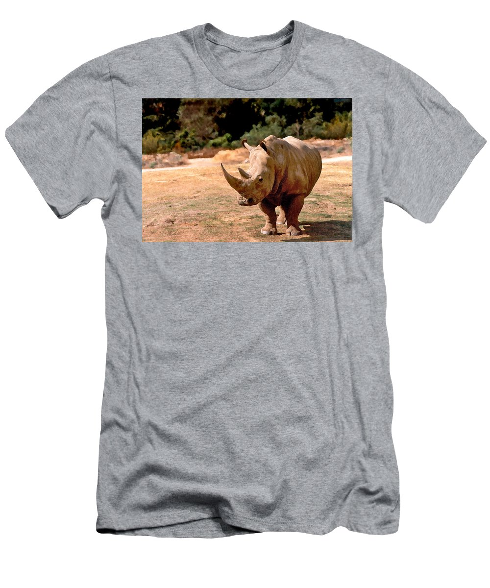 Animal Men's T-Shirt (Athletic Fit) featuring the painting Rhino by Steve Karol