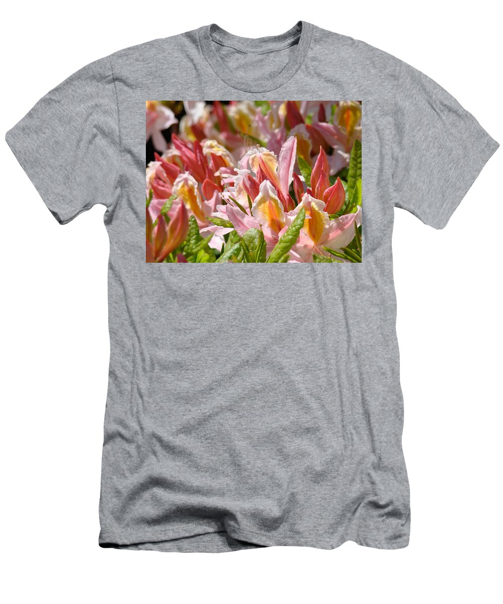Rhodie Men's T-Shirt (Athletic Fit) featuring the photograph Rhododendrons Floral Art Prints Canvas Pink Orange Rhodies Baslee Troutman by Baslee Troutman