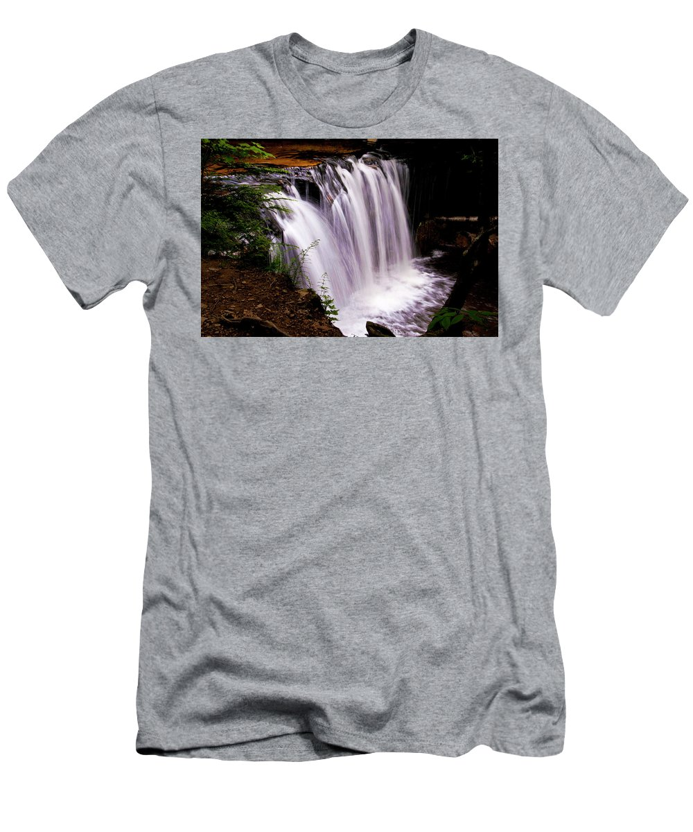 Waterfall Men's T-Shirt (Athletic Fit) featuring the photograph Rickett's Glen State Park by Ginnie Lerch