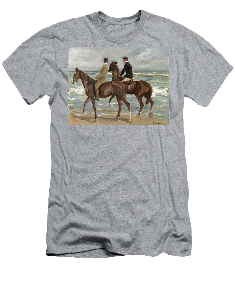 Max Liebermann Men's T-Shirt (Athletic Fit) featuring the painting Riders On The Beach by MotionAge Designs