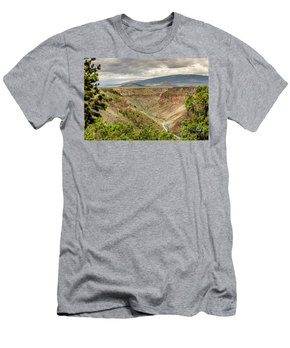 Rio Grande Gorge At Wild Rivers Recreation Area Men's T-Shirt (Athletic Fit) featuring the photograph Rio Grande Gorge At Wild Rivers Recreation Area by Debra Martz